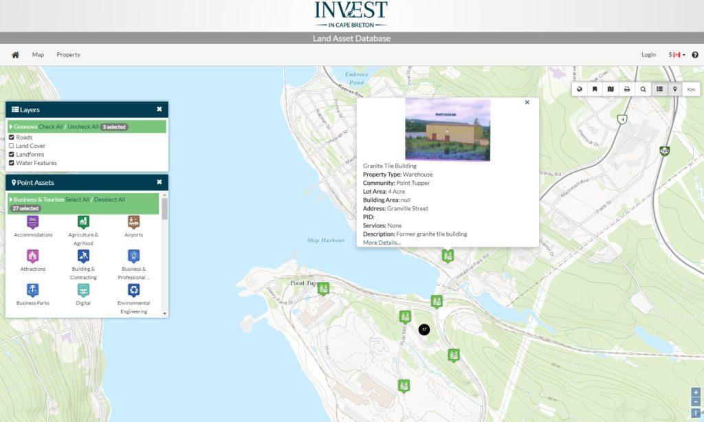 Screenshot of Capr Breton Partnership Land asset Database