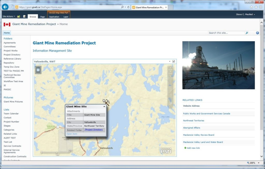 Screenshot of Giant Mine Remediation CMS website