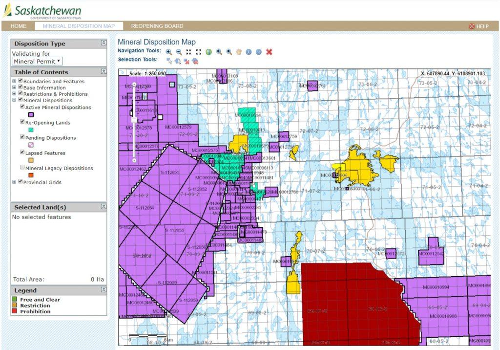 screenshot of MARS - Mineral Administration Registry of Saskatchewan