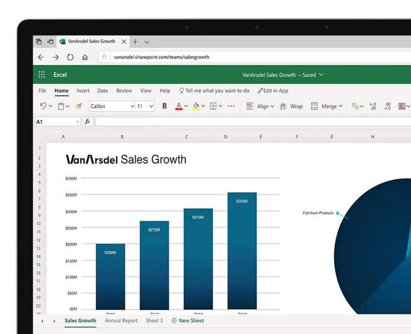 Screenshot of Microsoft Excel online in web browser