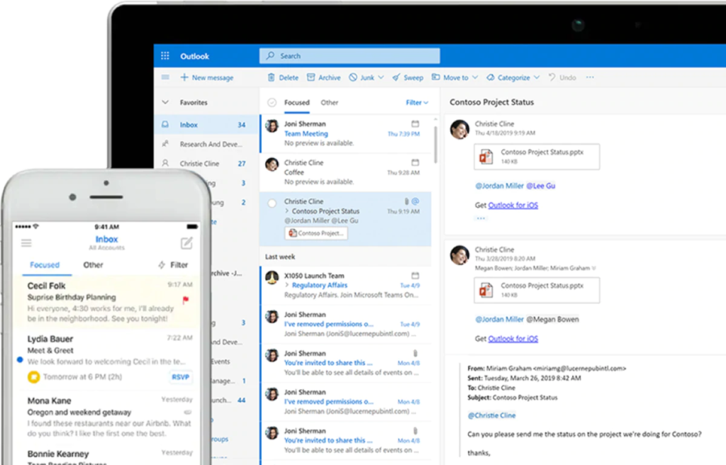 Microsoft 365 Exchange - tablet and mobile screenshot