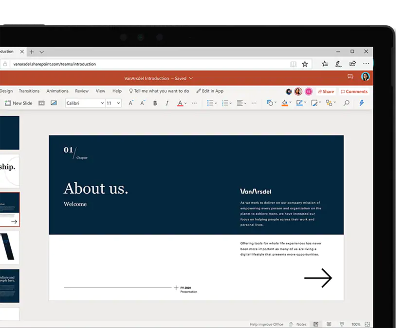 Screenshot of Microsoft PowerPoint online in web browser