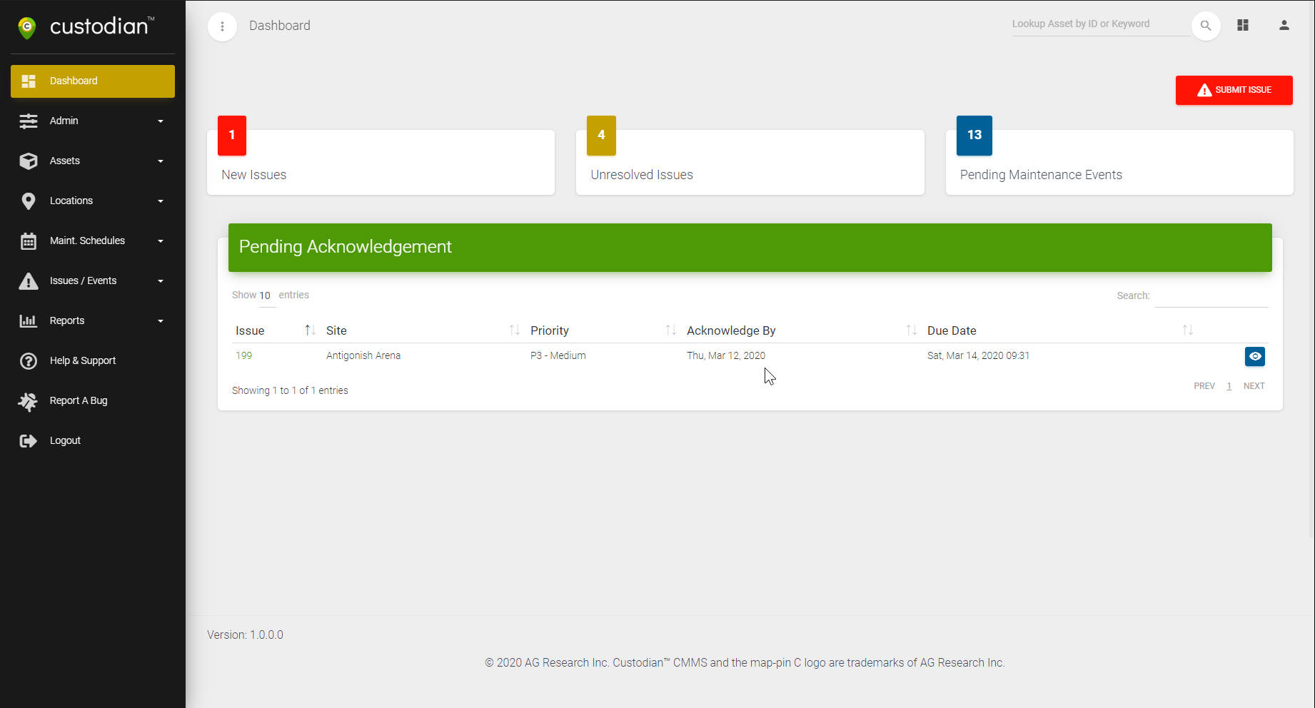 Screenshot of web application for Custodian C.M.M.S.
