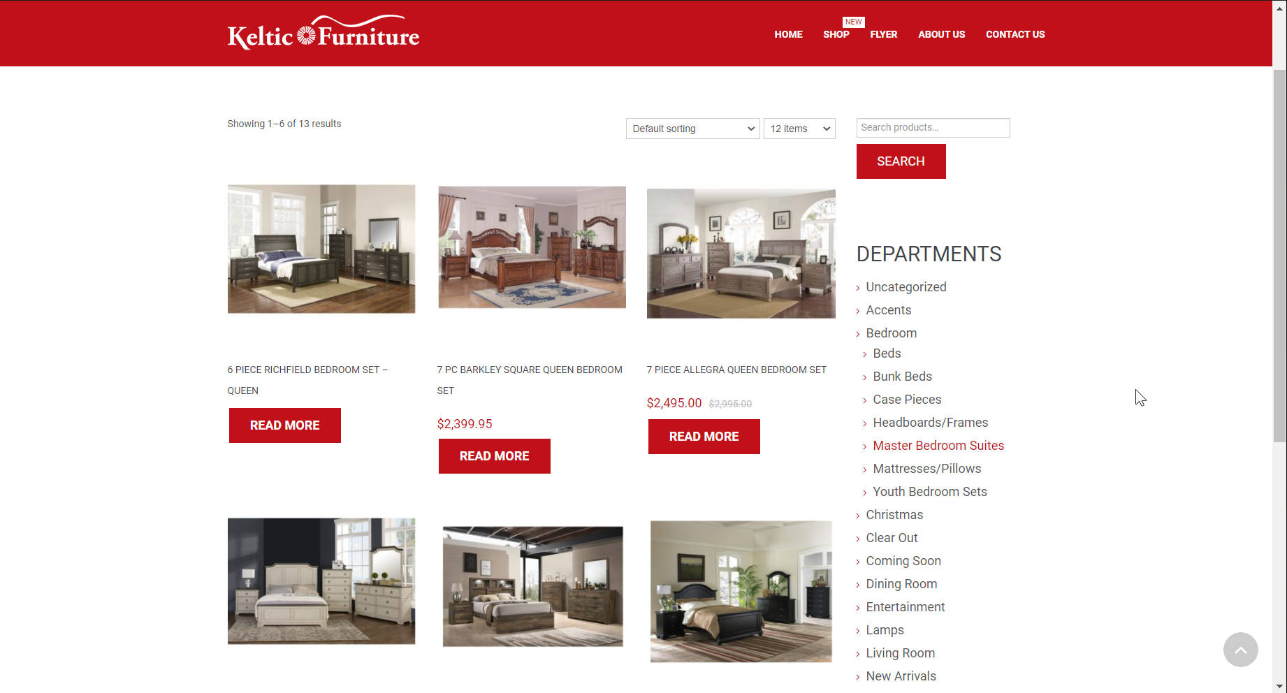 Screenshot of website for Keltic Furniture
