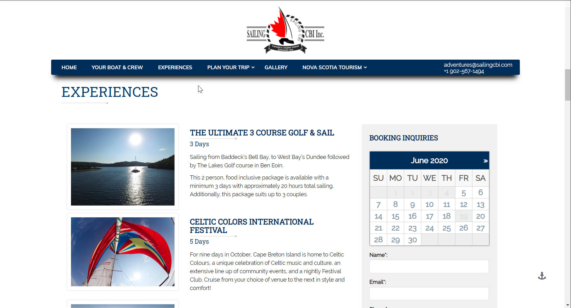 Screen shot of website for Sailing CBI