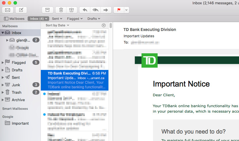 Screen shot of email inbox with fake message from the bank