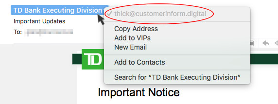 Image of email header showing the sender is not who you think they are